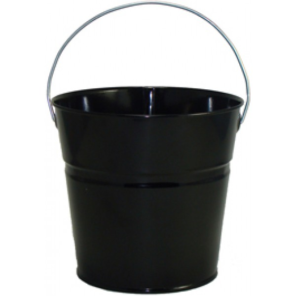 2 Qt Powder Coated Bucket Glossy Black 006