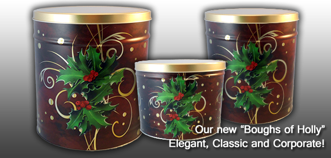 New Boughs of Holly Popcorn Cans