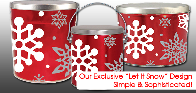 Our Exclusive Let It Snow Popcorn Cans