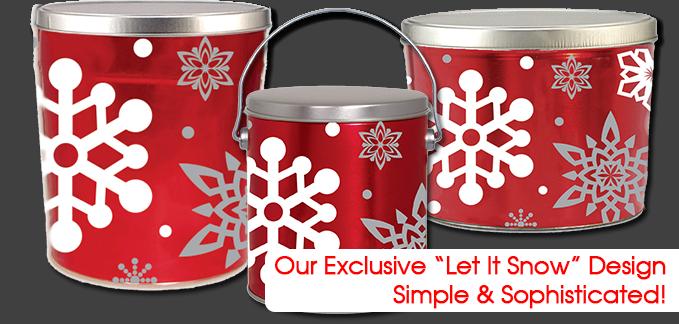 Our Exclusive Let It Snow Popcorn Cans