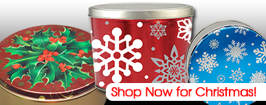 We are your wholesale source for fine tins and cans including cookie tins, cake tins, nut tins, popcorn cans, tin packaging supplies (including heat shrink bands, padded tops, TinTape, popcorn dividers (including our popular Self Standing Dividers) and reshipper boxes) and plastics.