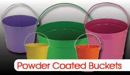 Powder Coat Buckets are great for personalization with vinyl letters.