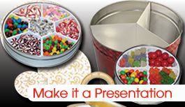 The Supplies make it a PRESENTATION!  We have supplies for Tins including heat shrink bands, padded tops, reshipper cartons, popcorn dividers, and TinTape.
